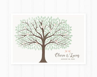 Wedding Guest Book Alternative, Guest Book Sign, 250 Guests, Watercolor Tree with Flowers and Birds