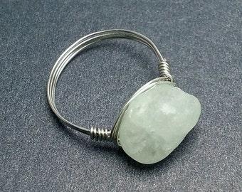 Organic Chunky Aquamarine Ring, Wire Wrap Ring, Gemstone Nugget Ring Gypsy Boho Hippie Ring Pale Blue Stone Wrap Ring Gemstone Wirewrap Ring