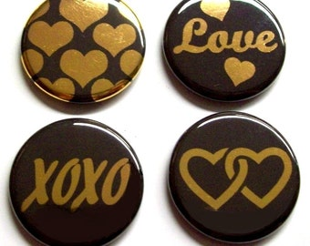 "Button Magnets, 1.25"", Hearts and Love, Gold Foil on Black, Set of 4 Refrigerator Magnets (Set #2)"
