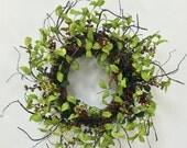 Summer Wreath, Fall Wreath, Leaf Wreath, All Seasons Wreath, Green Wreath, Floral Décor, Floral Door Decor, Berry Wreath, Wispy Wreath