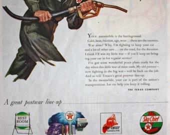 1945 ad Texas Texaco Gas Station Attendant Garage Art Vintage Print Ad ETK128