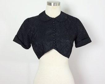 Black Antique Blouse / Button Up Blouse / Antique Taffeta Top / Black Lace Button Up Crop Top / Antique Top Small / Goth Shirt