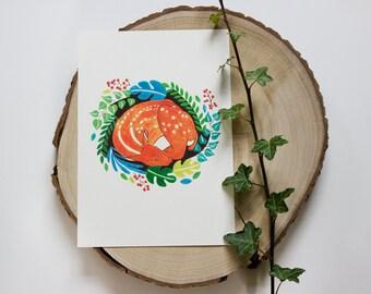 Sleeping Deer Illustration Print