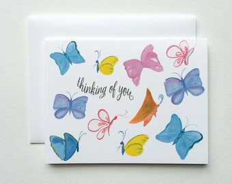 Colorful Butterfly Thinking of You Note Cards