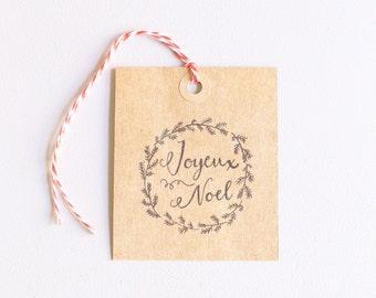Christmas gift tags, hand drawn printable gift tags, joyeux noel, instant digital download