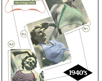 Sun Tops 1940's Vintage Knitting Pattern - PDF Instant Download