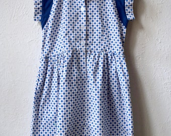 Fun at the Diner - Retro Blue Patterned Day Dress - Age 5 to 7