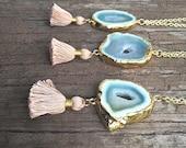 Tassel Necklace, Long tassel necklace, Druzy Necklace, Drusy Necklace, Agate necklace, Mini tassel necklace, Druzy Tassel Necklace, tassel