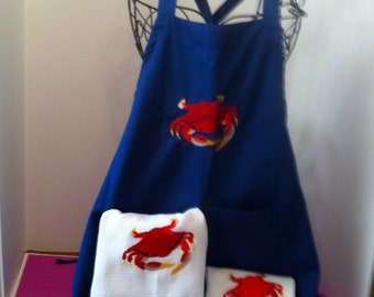 3 pc. embroidered Crab Apron & towel set