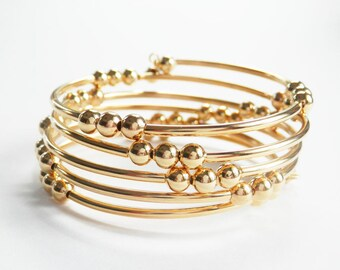 Gold Memory Wire Bracelet, 5 Row Coil, Gold Beaded Wrap Bracelet, Bold Coil Bracelet, Gold Cuff, Gold Tubes and Beads