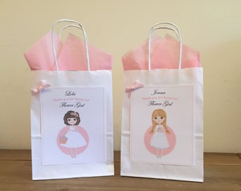 Personalised Wedding, Favour, Gift Bag, Party, Thank you - FLOWER GIRL Design