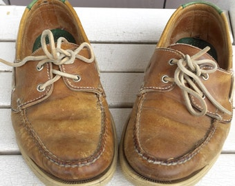 Vintage 1970's Cole Haan Light Brown / Tan & Green Leather Boat Shoes / Loafers  Men's Size 8.5