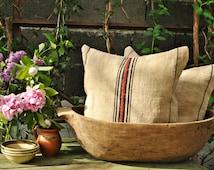 Authentic Grain Sack Pillow Cover / Antique linen / Black and Red Stripes / Handwoven fabric /Handmade Grainsack Pillow Sham