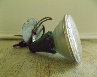 Vintage Porcelain Socket GE Flood Light With Stake   Retro Green 150 Watt Flood Lamp Work Light With Metal Post