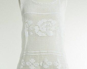 Late 1960's early 1970's Crochet Flower tank top