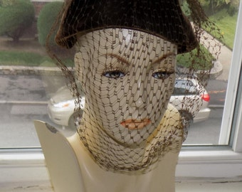 Vintage Brown Velour Hat, 1950, with Veil by G. Fox & Company, size 21