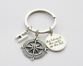 Compass Keychain, Grad Gifts, She Believed Keychain, Graduation Keychain, Compass Key ring, She believed she could so she did quote keychain