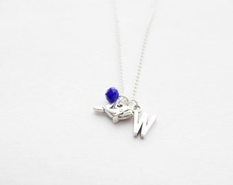 Tiny Whale Necklace Personalized Whale Necklace Silver Whale Jewelry Nautical Necklace Birthstone Initial Necklace Whale Charm Necklace Gift