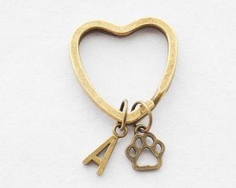 Paw Print Keychain Pawprint Keychains Pet Keychain Dog Lover Keychain Dog Lover Gift Cat Lover Keychains Paw Keychains Custom Monogram Gift