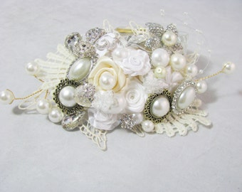 Vintage Inspired Bridal Hair Clip, lace Wedding Hair Accessory
