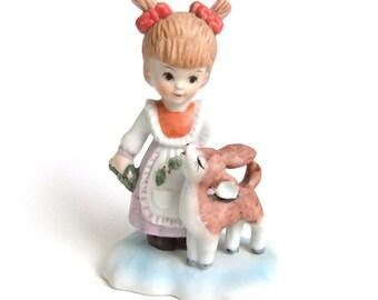 Vintage Girl and Deer Figure, Christmas Deer Girl Figurine