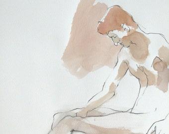 Original watercolor. Man sitting, head bowed. Portrait.