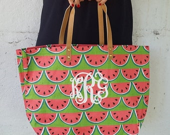 Monogrammed Watermelon Jute Tote