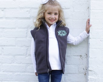 Youth Monogrammed Vest | Girls Fleece Vest | Personalized Fleece Vest