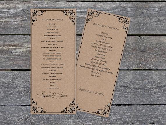 Kraft Paper Wedding Program Template Rustic Flourish Tea