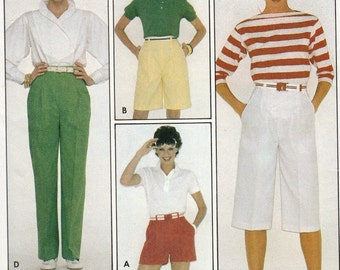 Butterick 4217 Sewing Pattern, Misses Shorts,Two Lengths and Straight Legged Pants, Raised Waistline, Belt Loops, Size 12, Uncut Vintage
