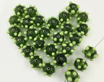 30 bumpy lampwork glass beads, green shades 12mm #PV 030