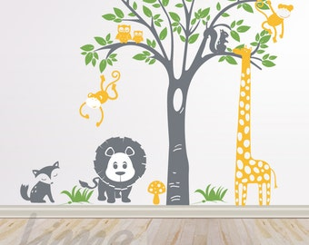 Safari Wall Decals for Nursery - Jungle wall decals - Animals Wall Decal A0035
