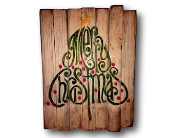 Rustic Wood Christmas Sign / Merry Christmas Decoration / Christmas Tree Decor