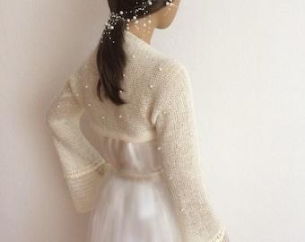 Bridal Bolero, Wedding Shrug, Bridal Shrug, Wedding Bolero, Pearl Beaded Bolero, Evening Shrug, Bridal Cover Up
