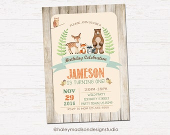 Woodland birthday invitation, Forest Friends, Rustick Style invitation DIGITAL FILE