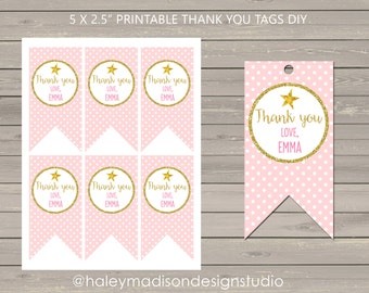 Twinkle Twinkle Little Star, Pink, Gold Glitter, Personalized Thank you Tags DIY PRINTABLE FILE