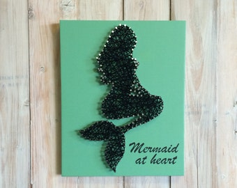 Mermaid String Art - Mermaid Decor - String Art - Mermaid Sign - Beach House Decor - Mermaid at Heart - Coastal Decor - Girls Room Decor