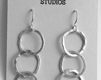 Triple Hoop Earrings, Long Silver Earrings, Hammered Silver Earrings