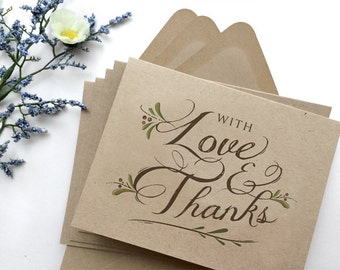Rustic Thank You Cards Set of 8 - Wedding Thank You Cards - Thank You Folded Note Card - With Love and Thanks - Kraft Thank You Cards