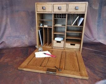 Birdseye Maple Desktop Secretary Drop Leaf Cabinet Antique