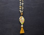 Earthy Citrine Bead Brown Tassel Necklace with Butterfly and Floral Tin and Citrine Rosary Bead Chain, Earthy Boho Jewelry, Tassel Jewelry.