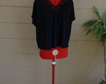 SALE Vintage 80's Blouse / Accordion Pleats Black Lace Shirt One Size Fits Most