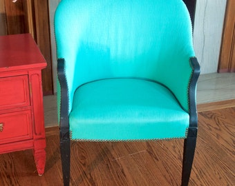 Painted, Upholstered teal side accent chair