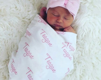 Personalized Gift Set. Newborn Hospital Hat  (round top/double ply) and 100% Organic Swaddle Blanket.  Personalized Name Blanket.