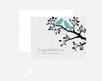 Love Birds Wedding Card, Congratulations, Wedding Card, Birds on Branch Wedding Card