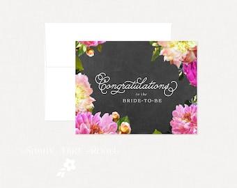 Bridal Shower Card, Chalkboard Floral Bridal Shower Card, Bride-to-be, Chalkboard Bridal Shower