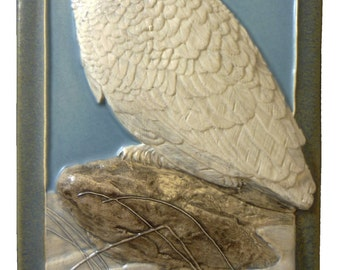 "Ceramic art tile, ""Snowy Owl"", 4 x 8 inches"