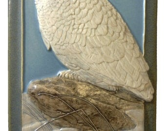 "Ceramic decorative tile, ""Snowy Owl"", 4 x 8 inches"