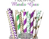 MARDIS GRAS Gold, Green, Purple, Multipack, Chevron, Dots, Damask, Vintage, 25 Straws, Party Decor, Wedding, Celebration, Peacock, Mermaid