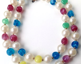 Hattie Carnegie Long Multi Color with Glass Bead and Faux Pearl Necklace